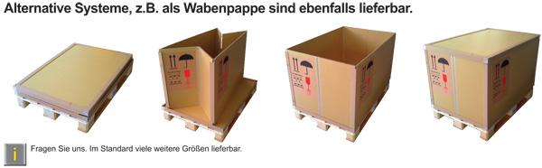 Alternative Systeme, z.B. als Wabenpappe sind ebenfalls lieferbar.