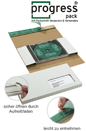 CD-Jewel-Mailer DIN lang, aus stabiler Wellpappe, weiß