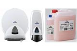 Toilettenpapierhalter, Seifenspender und Seife